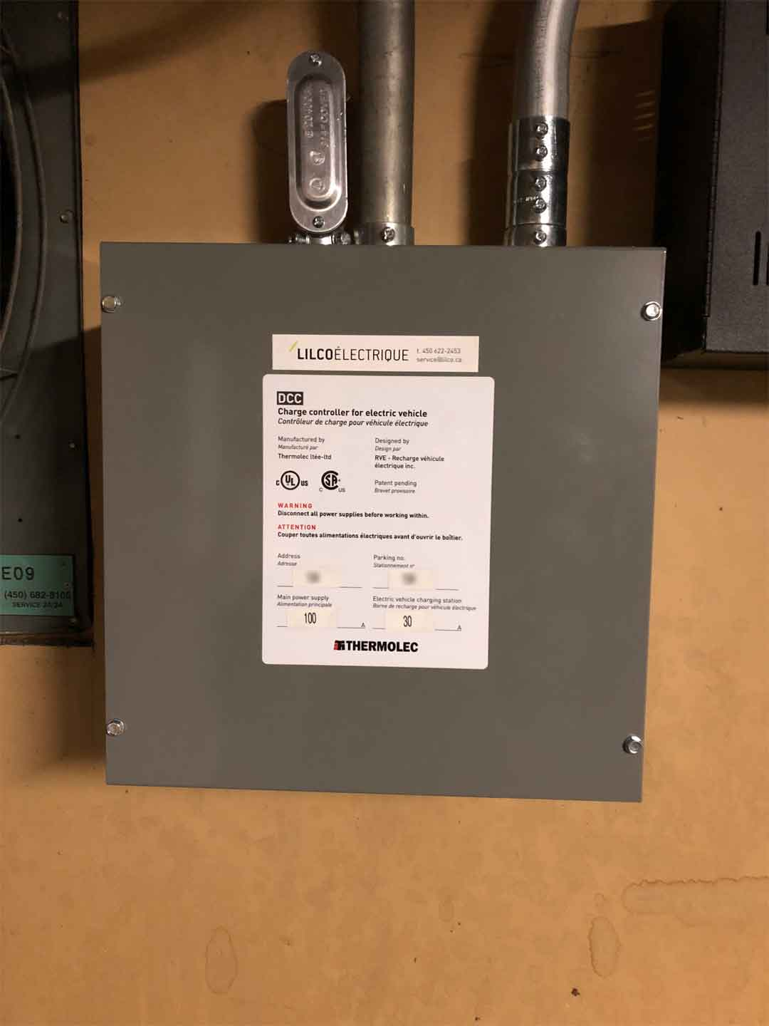 EVEMS added for an electric vehicle charger Installation for a condo in Laval